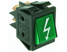 GREEN BIPOLAR PUSH-BUTTON 16A 250V